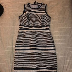 J. Crew Sheath dress in striped navy tweed